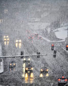 Driving in Severe Snow Storm in Town — Stock Photo