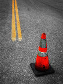 Construction Cone and Street Repair — Stock Photo