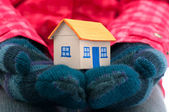 House holds woman in winter gloves — Stock Photo