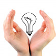 Stock Photo: Bulb in hands