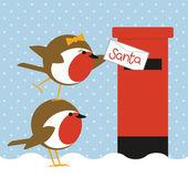 Robinler mektup gönderme — Stok Vektör