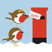 Robins posting letter — Stockvector