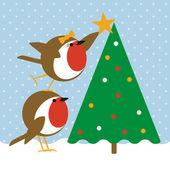 Robins christmas tree — Stock Vector