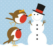 Robins and snowman — Stok Vektör