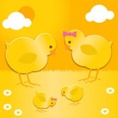Easter chicks family — Stock Vector