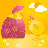 Easter chick in easter egg — Stock Vector