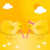 Easter chicks with worm — Stock Vector