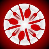 板和餐具的形状 — 图库矢量图片