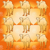 Camel and pyramids — Vector de stock
