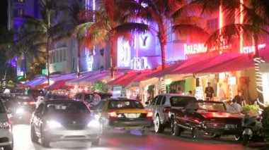 Ocean Drive at night — Stock Video
