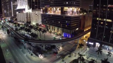 Night aerial footage of Downtown Miami — Stock Video