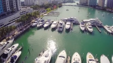 Aerial footage of a yacht club — Stock Video