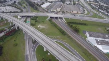 Aerial footage of a highway interchange — Stock Video