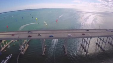 Key Biscayne bridge — Stock Video