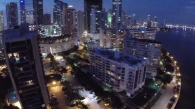 Aerial footage of Brickell at night — Stock Video