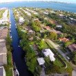 Residential houses on the water aerial video — Stock Video