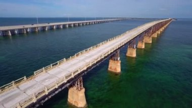 Florida Keys 7 Mile Bridge aerial video — Stock Video