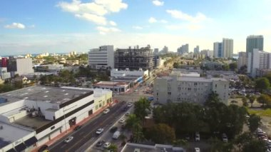 Aerial video footage of South Beach by Alton Road — Stock Video