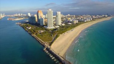 Aerial departure Miami Beach — Stock Video