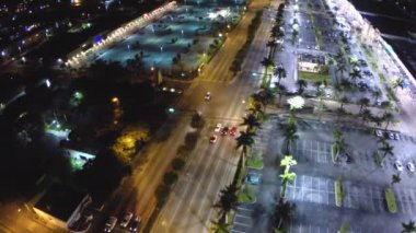 Aerial night flight over the city — Stock Video