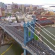 Aerial video of the Manhattan and Brooklyn Bridge in New York — Stock Video