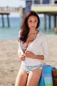 Stock image woman in a sweater on the beach — Stock Photo
