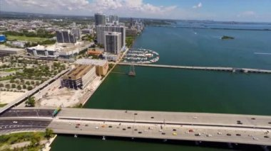 Downtown Miami and the Macarthur Bridge — Stock Video