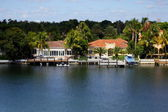 Luxury waterfront real estate — Stock Photo