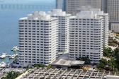 Buildings on the bay tilt shift — Stock Photo