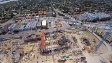 Construction cranes in Miami Beach — Video Stock