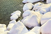 Rocce coperte di neve — Foto Stock