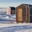 Stock Photo: Ice Fishing Shacks