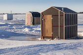 Ice Fishing Shacks — Stock Photo