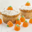 Autumn Pumpkin Cupcakes — Stock Photo