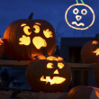 Stock Photo: Carved Halloween Pumpkins