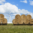 Hay Bales and Wind Turbines — Stock Photo