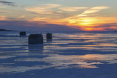 Sundown Ice Fishing — Stock Photo