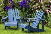 Blue Back Yard Chairs — Stock Photo