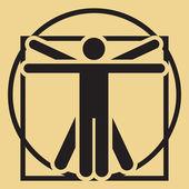 Vector minimalistic vitruvian man — Stock Vector