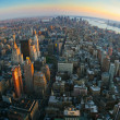 Stock Photo: Fisheye view over lower Manhattan, New York