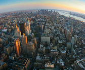 Fisheye vista sulla bassa manhattan, new york — Foto Stock
