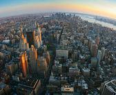 Rybí oko pohled na dolní manhattan, new york — Stock fotografie