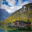 Braies lake hut - Stock Photo
