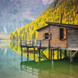 Braies lake hut — Stock Photo