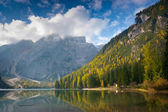 Braies lake — Stock Photo