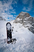 Mount Bilapec and snowboard — Stock Photo