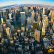 Fisheye aerial panoramic view over New York - Stockfoto