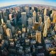Fisheye aerial panoramic view over New York - Stock Photo