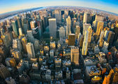 Fisheye aerial panoramic view over New York — Stock Photo