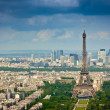 Eiffel tower and La Defense district - Stock Photo